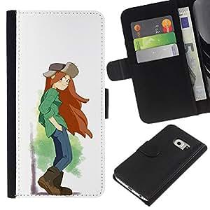 Stuss Case / Lederhülle Leder schützt - Tomboy Mädchen Langes Haar Art Malerei Brown Stiefel - Samsung Galaxy S6 EDGE