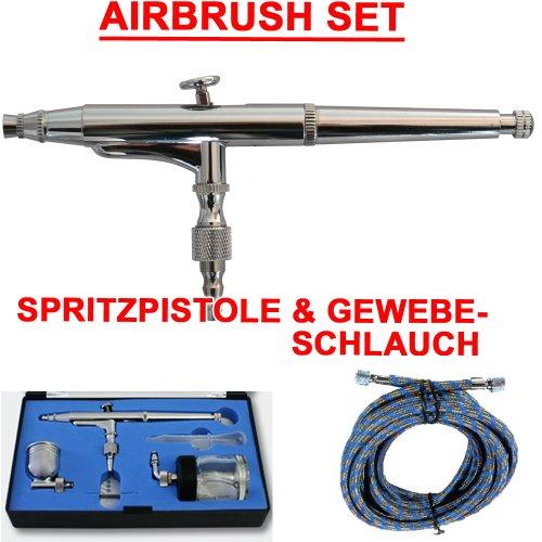 AIRBRUSH-PISTOLE für AIRBRUSH KOMPRESSOR SET DOUBLE-ACTION 134D 0,3 DÜSE und NADEL + Fliesbecher 7cc + 22cc Glas, inkl. DRUCKLUFTSCHLAUCH, UNIVERSAL-PISTOLE -