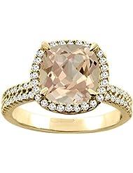 14ct blanco/oro amarillo Natural del anillo Halo colgantes diamante cojín 9 x 9 mm acento 1,11 cm de ancho, de tallas J - T