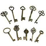 PsmGoods® Weinlese-Skeleton Antique Keys Charme DIY Vorhängeschloss Old Style Blick Bronze 10Pack