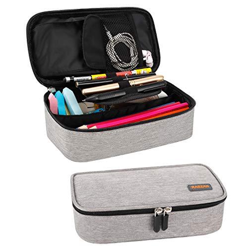 Mäppchen, RAGZAN Großformatiges Federmäppchen Taschenbeutelhalter Schreibwaren Schreibtisch-Organizer mit Reißverschluss für Schul- und Büromaterial (Grau)