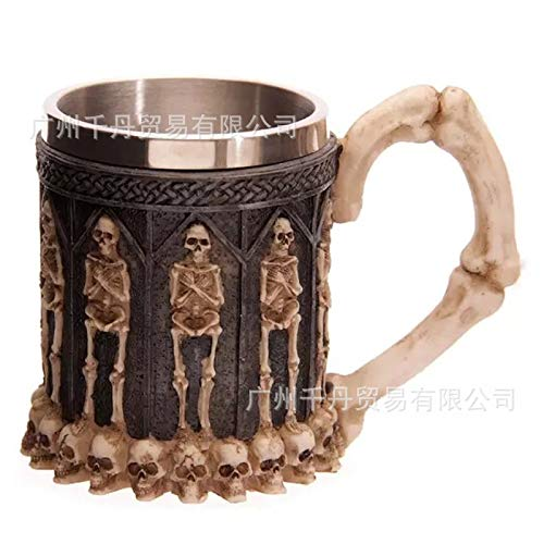 GGsmd Edelstahl Skull Kaffeetasse Wasserbecher Spucksimulation Skull Styling Cup 301-400Ml Stehendes Skelett Becher -