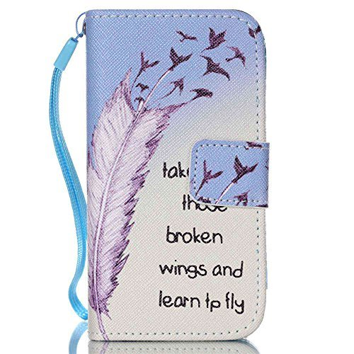 Meet de Samsung Galaxy S4 GT-i9505 Bookstyle Étui Housse étui coque Case Cover smart flip cuir Case à rabat pour Galaxy S4 GT-i9505 Coque de protection Portefeuille - this iphone is locked slide to un take those broken wings and learn to fly