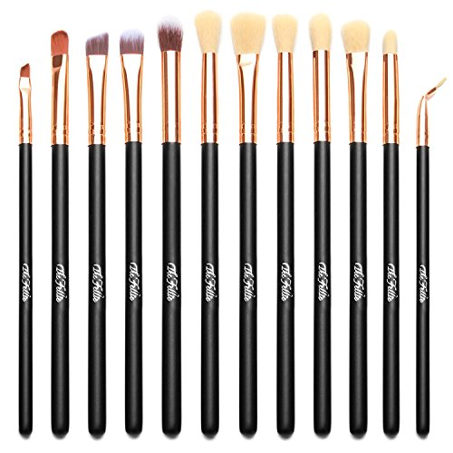 TheFellie 12pcs Eye Brushes Eyeshadow Brush Set Blending Brushes Eyeliner Brush Eye Makeup Brushes Set(Rose Gold)