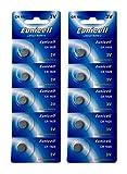 Eunicell 10 x CR1025 3V Lithium Knopfzelle (2 Blistercards a 5 Batterien) EINWEG Markenware