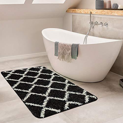 Paco Home Moderne Badematte Mit Rauten Design Hochflor Badteppich In Schwarz Weiß, Grösse:80x150 cm