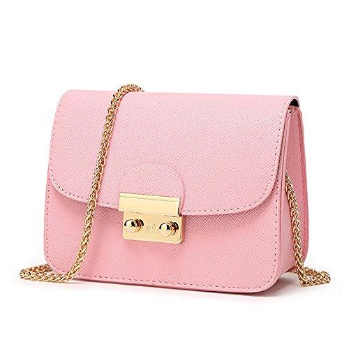 CHIKENCALL Damentasche Kleine Damen Umhängetasche Citytasche Schultertasche Handtasche Elegant Retro Vintage Tasche Kette Band -Rosa -
