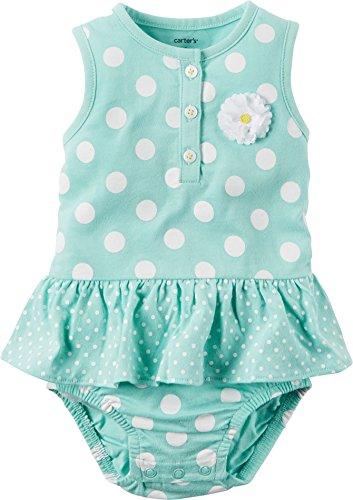Carters Baby Girls Polka Dot Sunsuit (24 Months, Blue) (Polka Dot Sunsuit)