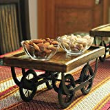 My Indian Brand Wood Cart Snacks and Dinner Serving Platter for Dining Table