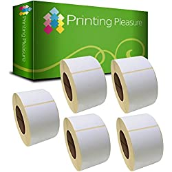 Printing Pleasure 76mm x 51mm Etiquetas de impresoras (1000 Etiquetas por Rollo) para Zebra/Toshiba/Citizen/Eltron/Orion/UPS, blanco (Pack de 5)
