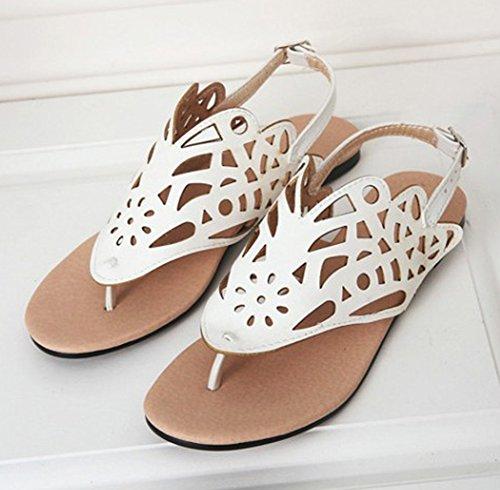 Aisun Femme Mode Clip Toe Découpée à Talon Plat Sandales Blanc