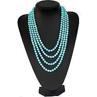 Collier Longue turquoise, perles en turquoise, pierres de gemmes.Forme de citrouille turquoise, Collier de perles de turquoise cadeaux de mariage, cadeaux de demoiselle d'honneur de la mère