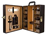 Black Butterfly Bar accessories Portable Leatherette Whiskey Glasses Briefcase Set