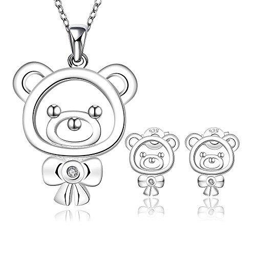 Teddybär Zucht Ohrringe Anhänger Halskette Silber Überzogen Hochzeit Sets (2 Set) (Teddybär Großhandel)