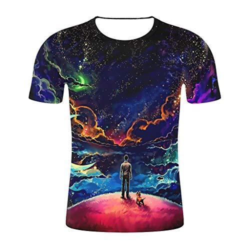 Tyoby Herren T-Shirt 3D Druckten Sommer-beiläufige Kurze Hülsen-T-Shirts T-Stücke Mode Schnitt Herrenbekleidung(Schwarz,XL)