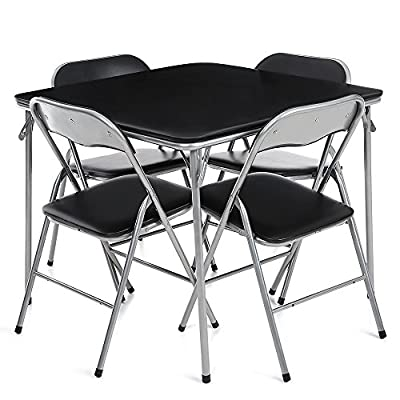 IKAYAA Dining Table and 4 Chairs Dining Table Set Garden Furniture Kitchen Table Camping Picnic Table Chairs