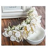 Vintage Haarschmuck, Kranz, Hochzeit, Blumen elegant Braut cool zum Dirndl, Retrostil Haarkamm Diadem Haarschmuck klar, Perlen, gold Seidenblumen ivory elfenbein beige