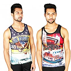 White Moon Cotton Printed Gym vest 3000 (M) Pack of 2