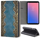 Samsung Galaxy S6 Hülle Premium Smart Einseitig Flipcover Hülle Samsung S6 Flip Case Handyhülle Samsung S6 Motiv (553 Abstract Blau Gold Antik)