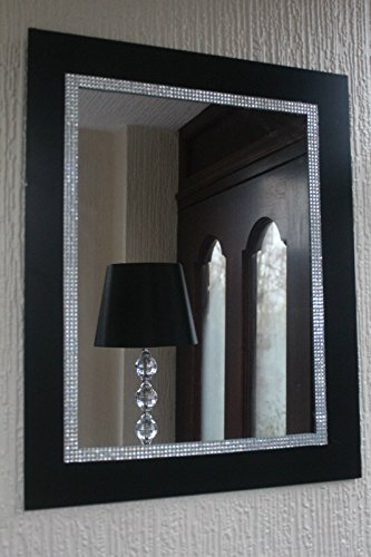 Living BLACK DIAMANTE WALL MIRROR BATHROOM HALLWAY MANTLE MIRROR