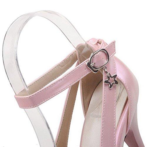 VogueZone009 Donna Punta Chiusa Scarpe A Punta Fibbia Luccichio Puro Tacco Alto Ballerine Rosa