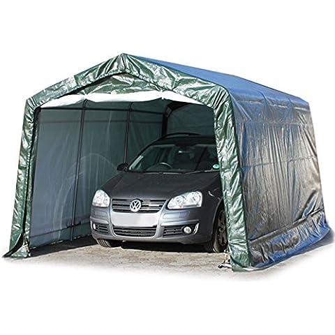 Garage mimbre tienda 2,4x 3,6m hasta 3,6x 9,3m en verde, Refugio de, CarPort con estructura estable de tubo de acero y 260g/m²