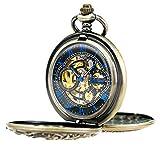 Treeweto antico Brone Dragon meccanico scheletro orologio da tasca con catena
