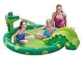 Summer Waves Planschbecken Kinderpool Krokodil mit Rutsche 196 x 165 x 66 cm
