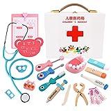 Decdeal Docteur en Bois Kit Enfants réaliste Pretend Play Docteur Toy Set Kit médical 18pcs Dentiste Kit