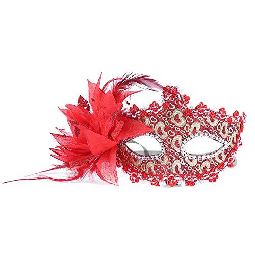 Daliuing Damen Maskenball-Maske, bunte Blumen, Pfirsich, venezianisches Halloween-Kostüm, aus Kunststoff für Karneval Party 17.5 * 11CM rot (Halloween-kostüme Erwachsene Blume Für)