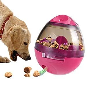 Petacc Chien Distributeur de friandises jouet interactif toute fuite de nourriture pour animaux Balle drôle jouet pour chien, facile à nettoyer, Rosy