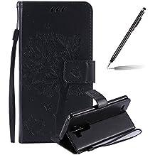 LG G3 Funda, LG G3 Funda Piel, Felfy Puro Realce Gato y el árbol Diseño Cuero Impresión Flip Leather Wallet Libro Billetera Funda Protectora Cierre Magnético con Ranura para Tarjeta Crédito Protectora Funda para LG G3 (Negro)+1x Aguja