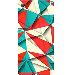 Casotec Red Blue White Pattern Design Hard Back Case Cover for Sony Xperia Z3 Plus / Z4