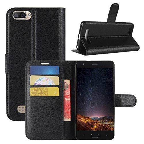 HualuBro Doogee X20 Hülle, Premium PU Leder Leather Wallet Handyhülle Tasche Schutzhülle Case Flip Cover mit Karten Slot für Doogee X20 / Doogee X20L 5 Inch Smartphone (Schwarz)