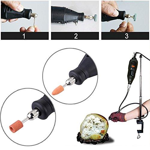 KKmoon Professionelle elektrische Schleifen Set 110-230V AC Regulierung Speed Drill Grinder Tool für Fräsen Polieren Bohren Schneiden Gravieren-Kit mit 114st Zubehör - 5