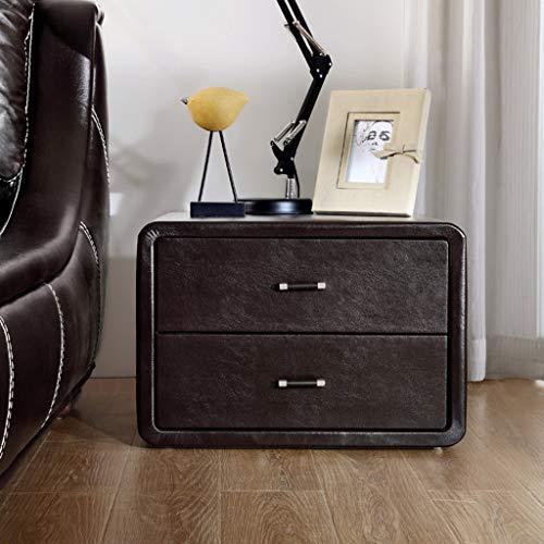 DWW Leder Storage Nachttisch Mit 2-Ebenen-Schublade, Kleines Sofa Ende Beistelltisch, Moderne Schlafzimmer Nachttisch Storage Akzent Tisch, Keine Notwendigkeit Zu Montieren