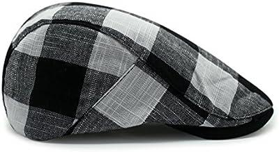 Primavera y otoño la versión coreana de algodón transpirable retro/sombrero de lino/bloque simple boina de cuadros