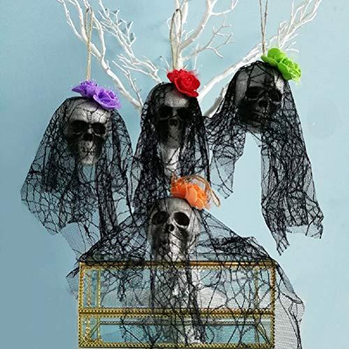 SuperCimi 4 Stücke Halloween Scary Schädel Dekorationen Party House Garten Ornamente