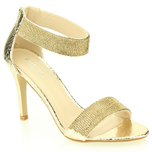 Femmes Dames Soir Mariage Party Mariée Haute Talon Open Toe Diamante Sandale Chaussures Taille (Or, Champagne, Noir, Argent) Or