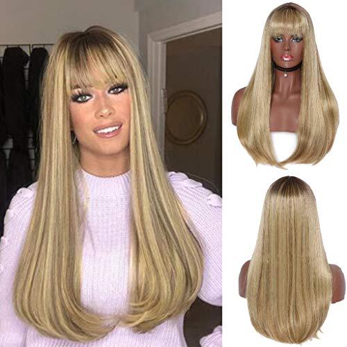 Perücke mit Pony Blond Long Synthetisches Glatte Haar Vordere Spitze Perücke Themenpartys Kostümfest Halloween Hochzeiten Cosplay Fasching Party Täglichen Wig 24 Zoll (Gold) ()