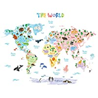 DECOWALL Animal World Map Kids Wall Stickers Wall Decals Peel and Stick Removable Wall Stickers for Kids Nursery Bedroom Living Room 1615 1615s