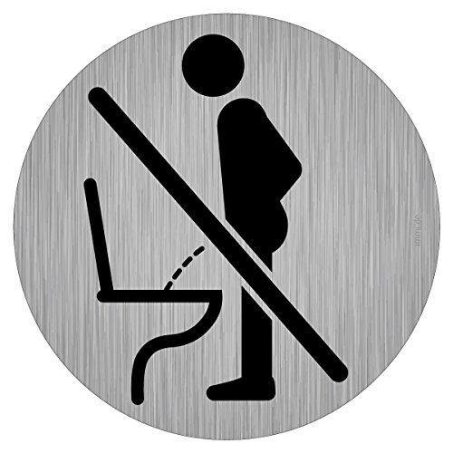 Toilette Hinweis - Bitte im Sitzen pinkeln, Nicht im Stehen pinkeln 9,5cm Ø, rund, Edelstahl-Optik