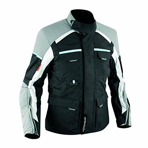 Giacca-Tessuto-Moto-Impermeabile-Termica-Sfoderabile-Touring-Cordura-Grigio-XL