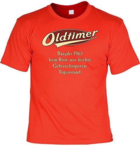 Jahrgangs/Geburtstags/Spaß-Shirt/Party-Shirt: Oldtimer Baujahr 1963 - kein Rost, nur leichte Gebrauchsspuren, Topzustand. Rot
