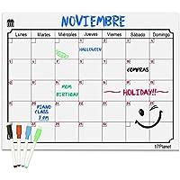 Calendario Magnético para Nevera,17Planet Pizarra planificador de borrado en seco con 4 Rotuladores de Color, Recordatorio organizador mensual y semanal para frigorífico de cocina