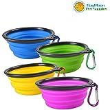 RayMoon Cuenco Plegable Portable de Mascotas para Viaje Juego de 4 Piezas (Azul + Verde + Amarillo + Fuscia)