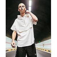 MN Sudadera con Capucha para Hombre Summer Trend Half-Sleeve Top Camiseta Suelta,Blanco,L