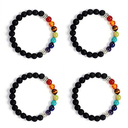 4 Artikel Elastisches Armband mit 7 Chakren und Diffusor-Perlen aus Lavastein für ätherische Öle