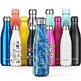Proworks Bottiglia Acqua in Acciaio Inox, Senza BPA Vuoto Isolato Borraccia Termica in Metallo per Bevande Calde per 12 Ore & Fredde 24 Ore, Borraccia per Sport - 500ml - Blu Scuro - Foglia di Palma