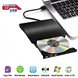 External DVD Drive, USB 3.0 Portable DVD Burner, Super Slim External Optical Drive, CD/DVD-RW Writer for Macbook Pro Laptop/Desktops Win 7/8.1/10 and Linux OS